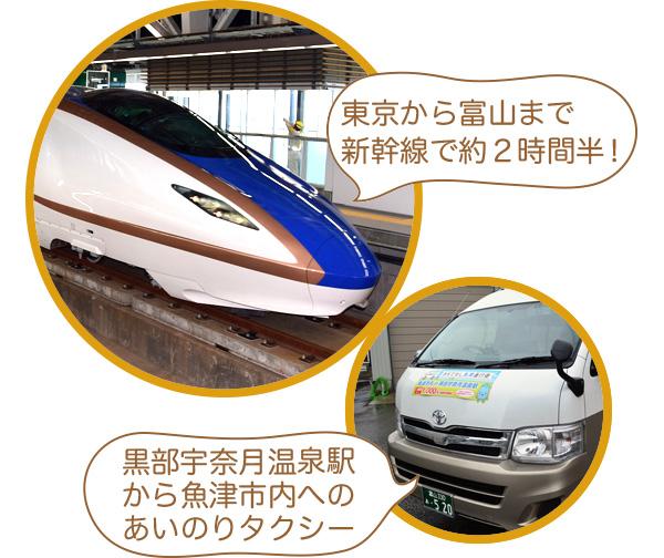 「東京から富山まで新幹線で約2時間半!」「黒部宇奈月温泉駅から魚津市内へのあいのりタクシー」